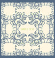 floral card template blue and cream vector image vector image