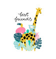 funny jungle animals giraffe monkey tucan with vector image