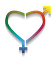 gender signs in heart shape colorful icon vector image