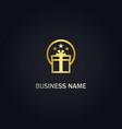 gift box star gold logo vector image
