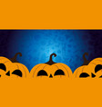 halloween banner with three pumpkins vector image