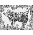 hand drawn steampunk pig vector image vector image