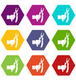 hand holding chisel icon set color hexahedron vector image vector image