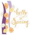 hello spring lettering handwriting card vector image vector image