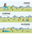 Hiking camping and outdoor leisure banners vector image vector image