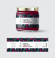 jam raspberry label and packaging jar with cap vector image vector image