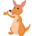 kangaroo cartoon presenting vector image vector image