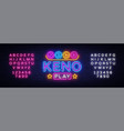 keno lottery neon sign lotto design vector image vector image