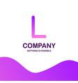 l company logo design with purple theme vector image vector image