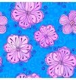 Lilow doodle flowers seamless pattern vector image vector image