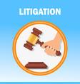 litigation court procedure flat banner template vector image vector image