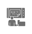 man stores data in a phone online storage mobile vector image