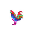 paper cut rooster shape 3d origami vector image
