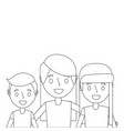 portrait mom embracing with son and daughter vector image vector image