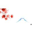 red maple foliage and fujiama mountain vector image