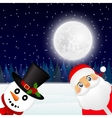 Santa Claus and Christmas snowman in forest vector image vector image