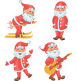 Santa in different actions cartoon set vector image vector image