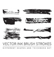 Set of Black Pen Ink Brush Strokes Grunge Ink vector image