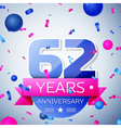 Sixty two years anniversary celebration on grey vector image vector image