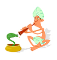 snake charmer cartoon vector image