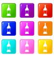 soda water icons 9 set vector image vector image