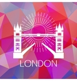The Tower bridge label or logo over geometric vector image vector image