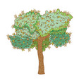 tree rural landscape in round icon vector image vector image