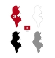 Tunisia country black silhouette and with flag on vector image vector image