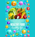 vitamins in vegetables fruits and nuts food vector image