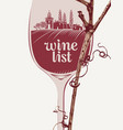 wine list with wine glass grapevine and landscape vector image