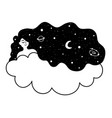 with relaxed young woman stars and planets vector image vector image