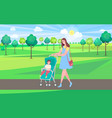 woman walking with perambulator and kid in park vector image vector image