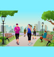 women running in a park vector image vector image