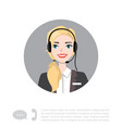 young lady with headset character vector image vector image