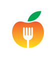apple fork restaurant logo vector image