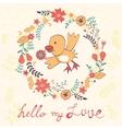 Hello my love card with bird vector image