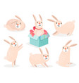 funny cartoon cute easter bunny set vector image