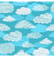 seamless pattern with scribble clouds vector image