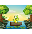A frog at the river standing above the log vector image vector image