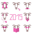 about the new year 2015 set heads of goat wi vector image