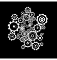 Abstract Cogs - Gears on Black Background vector image vector image