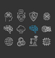 artificial intelligence chalk icon set vector image vector image