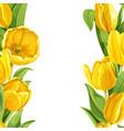 beautiful yellow tulips realistic background vector image vector image