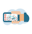bike sharing system smartphone application vector image vector image
