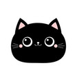 black cat round face icon cute cartoon funny vector image