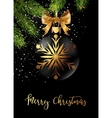Black Christmas ball with ribbon and a bow vector image vector image