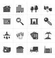 Black Real Estate and building icons vector image vector image