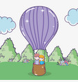 boy and girl couple in the air balloon vector image