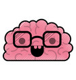 brain character with glasses and happy expression vector image vector image
