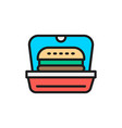 burger in packing fast food takeaway flat color vector image
